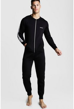 Mens Black MAN Tape Onesie
