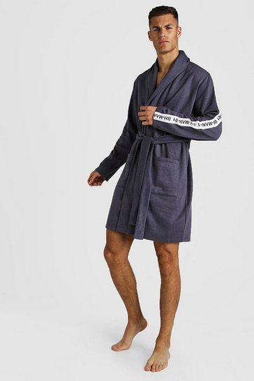 Mens Grey MAN Tape Robe