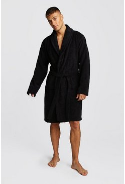 Mens Black MAN Embroidered Towelling Robe