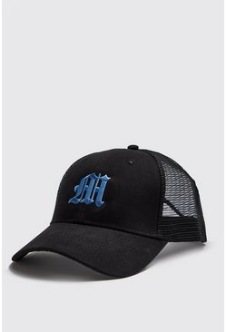 Mens Blue M Embroidered Trucker Cap