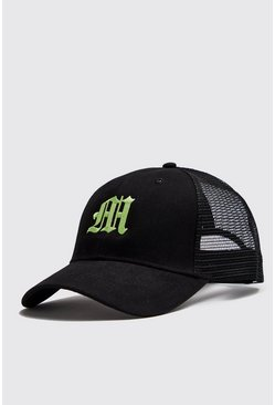 Mens Neon-green M Embroidered Trucker Cap