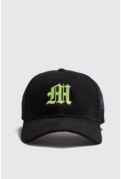 Mens Neon-yellow M Embroidered Trucker Cap