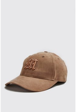 Mens Gold 3D M Embroidery Faux Suede Cap