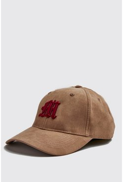 Mens Burgundy 3D M Embroidery Faux Suede Cap