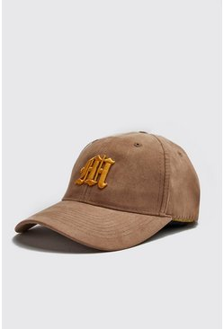 Mens Mustard 3D M Embroidery Faux Suede Cap