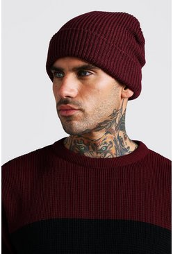 Mens Burgundy Rib Knit Beanie