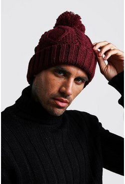 Mens Burgundy Cable Knit Bobble Beanie