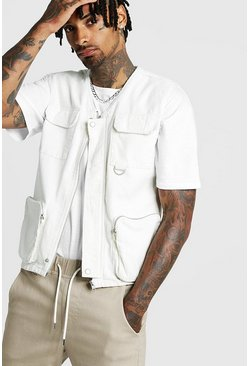 Mens Off white Cord Utility Vest