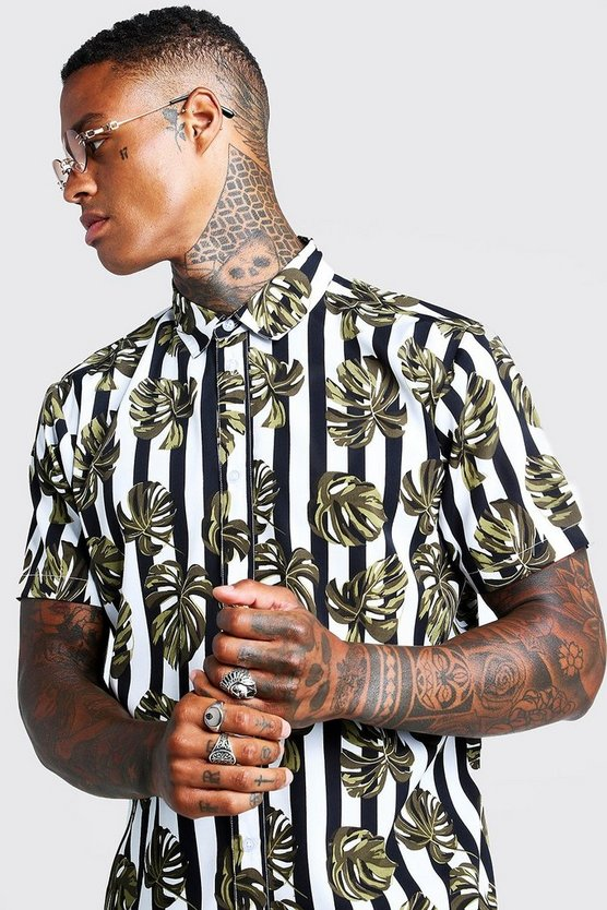 Mens Khaki Palm Stripe Print Oversized Shirt