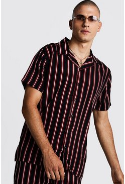 Mens Black Vertical Stripe Oversized Revere Shirt