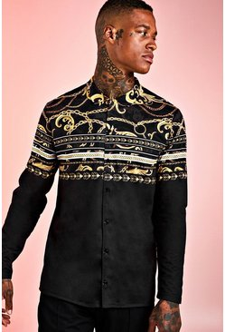 Mens Black Floral Baroque Stripe Long Sleeve Shirt