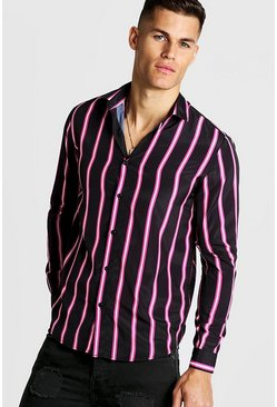 Mens Black Neon Stripe Long Sleeve Shirt