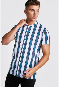 Herr Green Stripe Short Sleeve Shirt