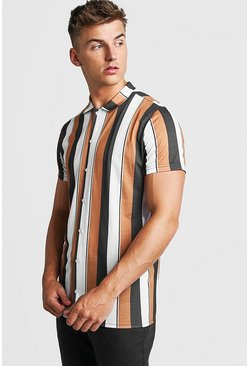 Mustard Short Sleeve Stripe Shirt