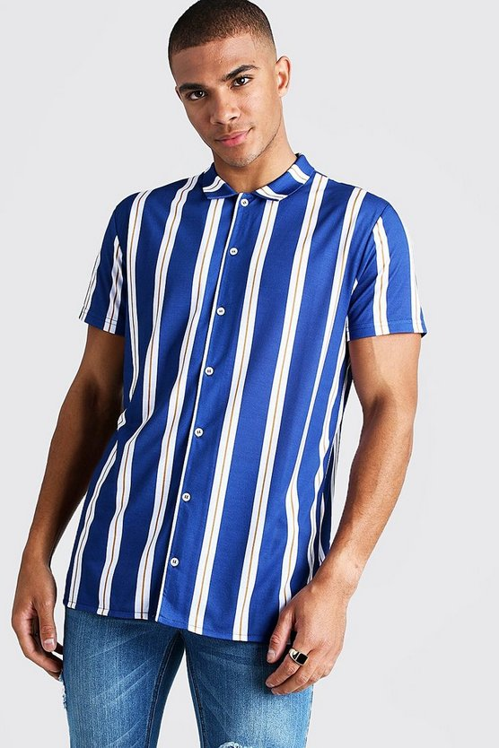 Mens Navy Stripe Short Sleeve Shirt