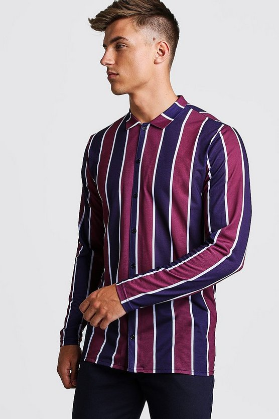 Burgundy Long Sleeve Stripe Shirt