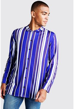 Herr Long Sleeve Cobalt Stripe Shirt