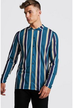 Mens Green Retro Stripe Long Sleeve Shirt
