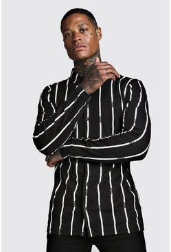 Mens Black Stripe MAN Long Sleeve Shirt