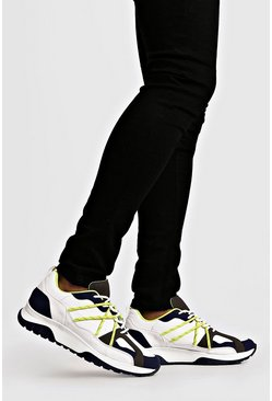 White Neon Yellow Bungee Cord Chunky Trainers