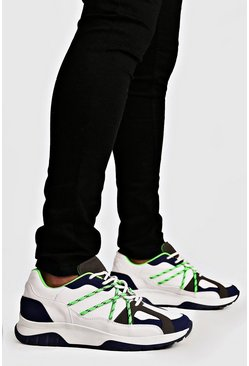 Mens White Neon Bungee Cord Chunky Trainers
