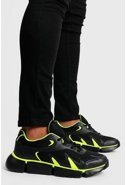 Black Neon Pop Chunky Trainer