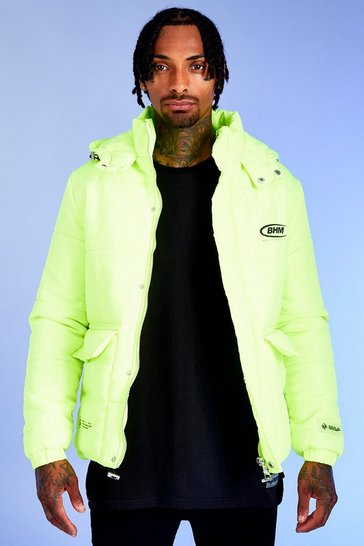 Mens Neon-green Deno Driz Puffer Jacket With BHM Print