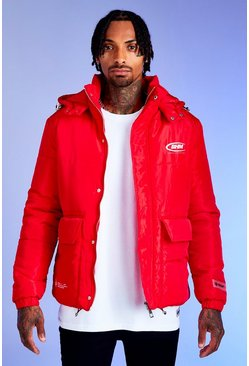 Red Deno Driz Puffer Jacket With BHM Print