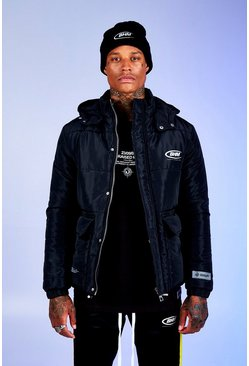 Black Deno Driz Puffer Jacket With BHM Print