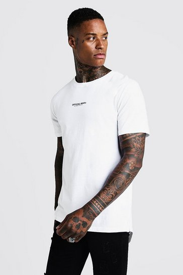 Mens White MAN Official Longline T-Shirt With Drop Tail