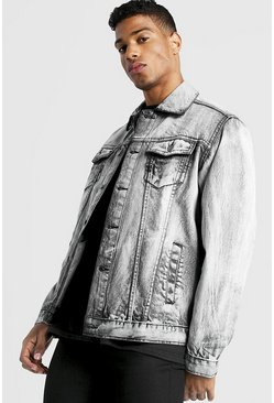 Mens Grey Oversized Washed Denim Jacket
