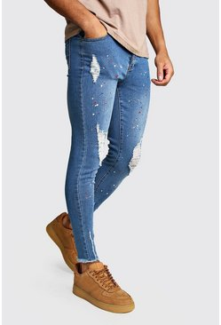 Mens Mid blue Super Skinny Jeans With Paint Splat