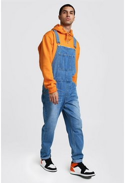 Herr Blue Relaxed Fit Long Length Denim Dungarees