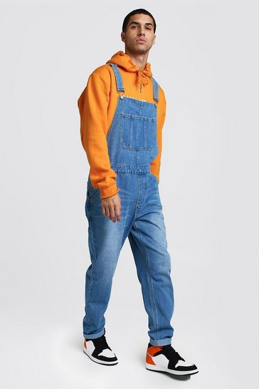 Mens Blue Relaxed Fit Long Length Denim Dungarees