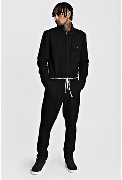 Herr Black Denim Boilersuit With Shoe Lace Belt