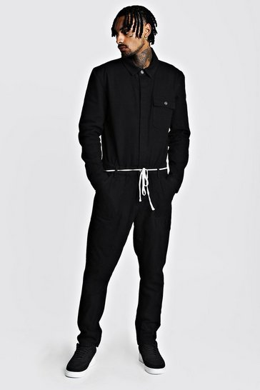 Mens Black Denim Boilersuit With Shoe Lace Belt