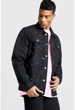 Mens Black Oversized Denim Jacket With Paint Splat