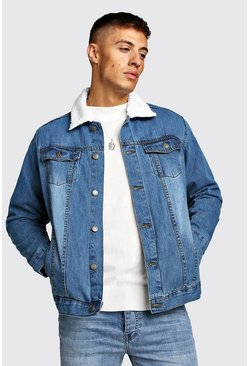Mens Mid blue Oversized Denim Jacket With Borg Collar