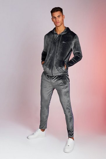 Mens Charcoal Man Signature Shiny Velour Hooded Tracksuit