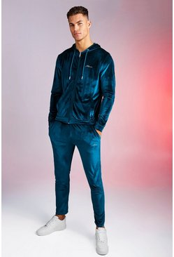 Mens Blue Man Signature Shiny Velour Hooded Tracksuit