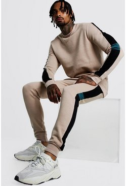 Mens Taupe Sweater Tracksuit With Contrast Side Panels