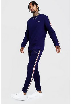 Mens Navy MAN Signature Sweater Tracksuit With Tape