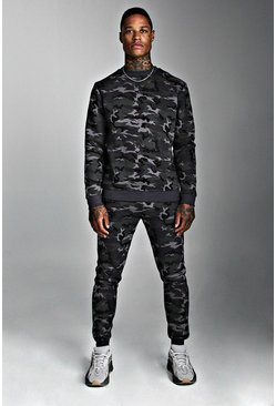 Mens Camo Sweater Tracksuit