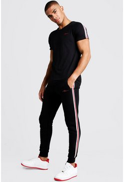 Mens Black MAN Signature T-Shirt & Jogger Set With Tape