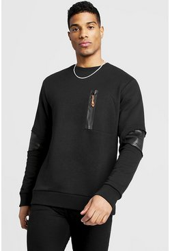 Mens Black Biker Detail Crew Sweater With Zips