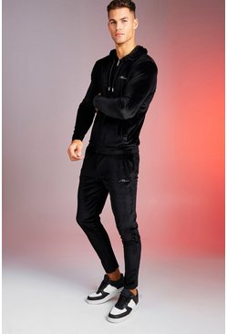 Black Man Signature Shiny Velour Hooded Tracksuit