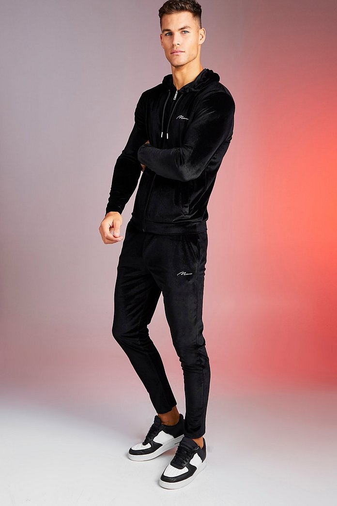 Man Signature Shiny Velour Hooded Tracksuit Boohooman