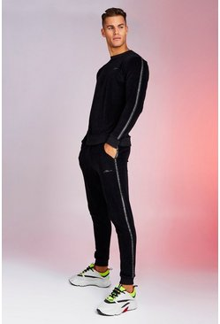 Black MAN Signature Velour Sweater Tracksuit With Tape