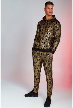 Mens Black Velour Baroque Foil Print Hooded Tracksuit