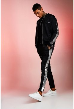 Mens Black Tricot MAN Bomber Tracksuit With Sequin Panels